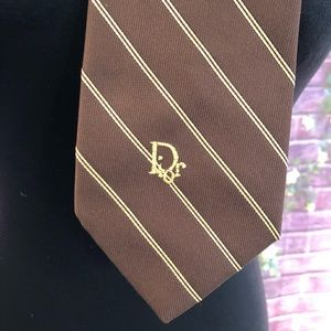 Vintage Christian Dior Logo Brown Striped Tie
